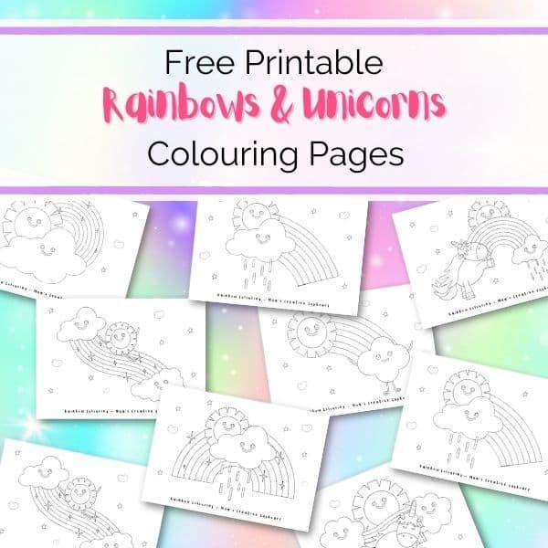Rainbows & Unicorns Coloring Sheets