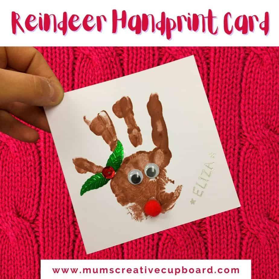christmas reindeer handprint craft art project