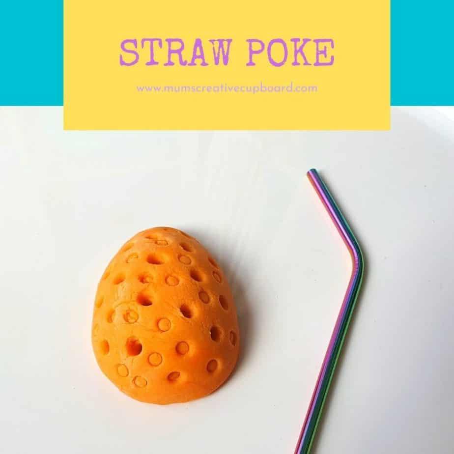 orange playdough straw game